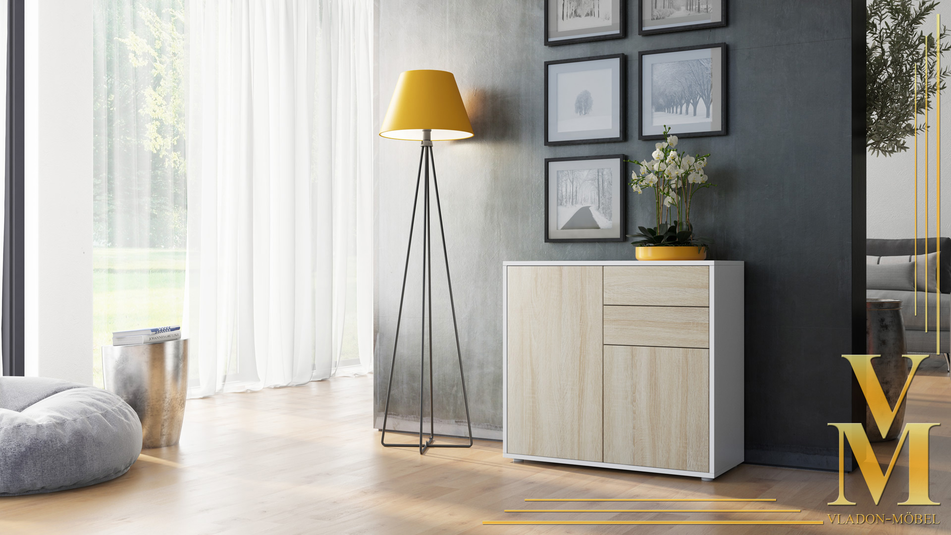 kommode sideboard anrichte schrank ben in wei hochglanz. Black Bedroom Furniture Sets. Home Design Ideas