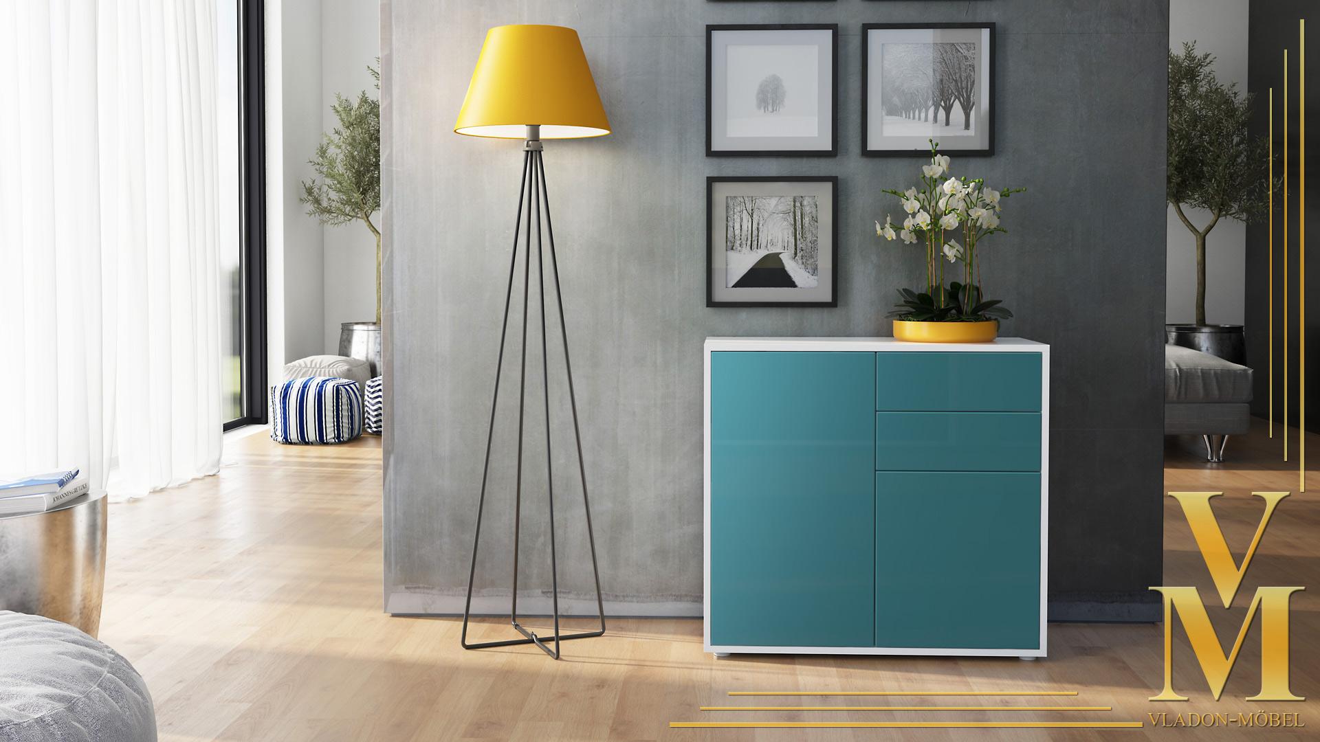 kommode sideboard anrichte schrank ben in wei hochglanz und naturt ne. Black Bedroom Furniture Sets. Home Design Ideas
