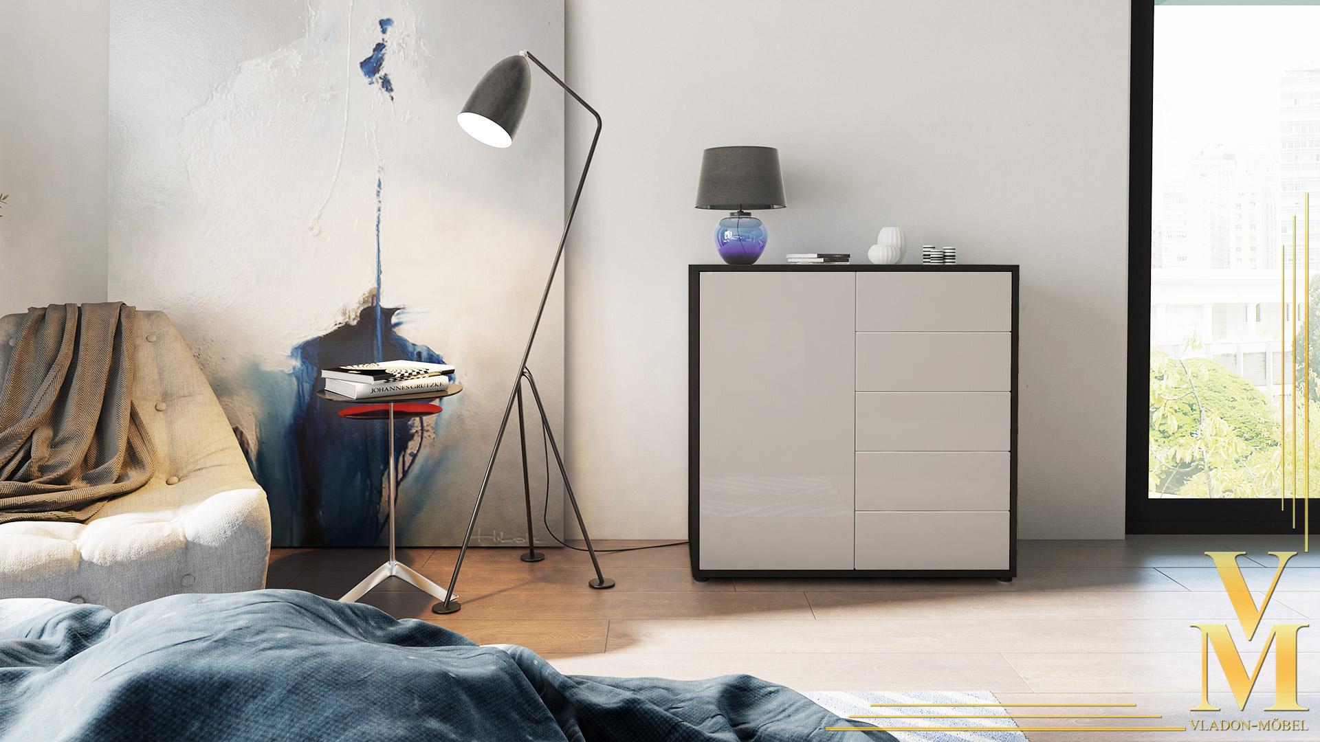 kommode sideboard anrichte schrank ben v2 in schwarz. Black Bedroom Furniture Sets. Home Design Ideas