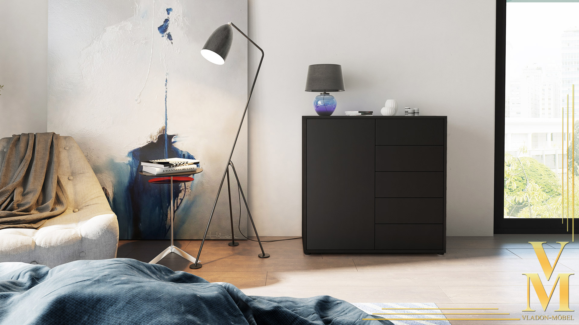 kommode sideboard anrichte schrank ben v2 in schwarz. Black Bedroom Furniture Sets. Home Design Ideas
