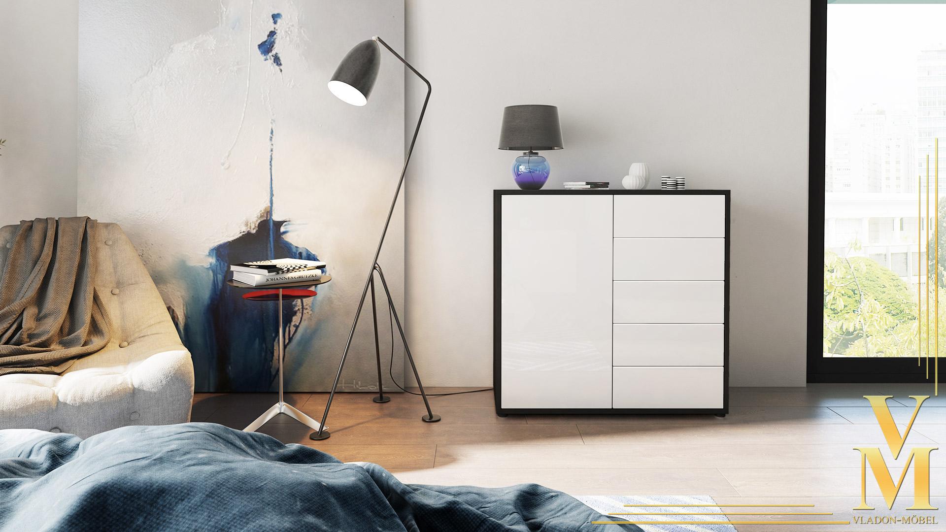 kommode sideboard anrichte schrank ben v2 in schwarz hochglanz und naturt ne ebay. Black Bedroom Furniture Sets. Home Design Ideas