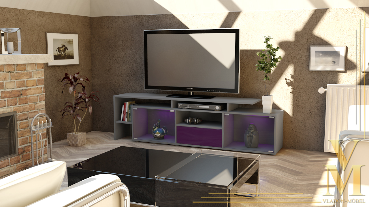 lowboard kommode tv board tisch rack bermuda in grau. Black Bedroom Furniture Sets. Home Design Ideas