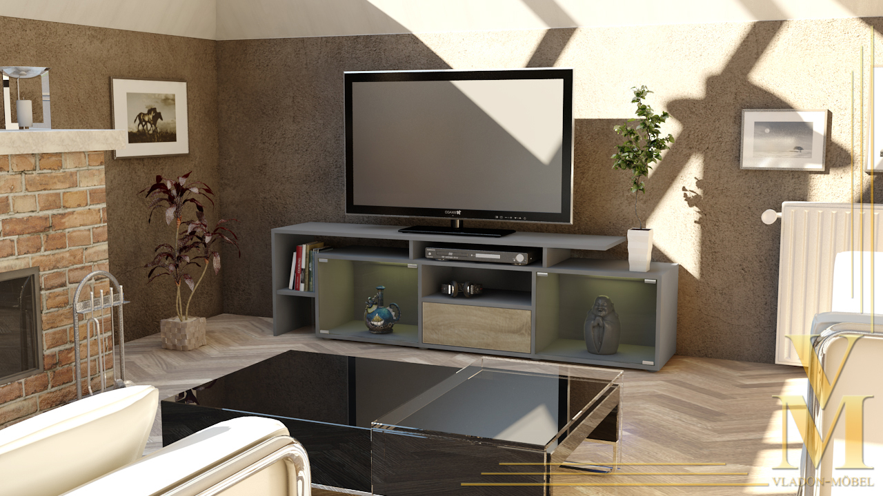 lowboard kommode tv board tisch rack bermuda in grau hochglanz naturt ne ebay. Black Bedroom Furniture Sets. Home Design Ideas