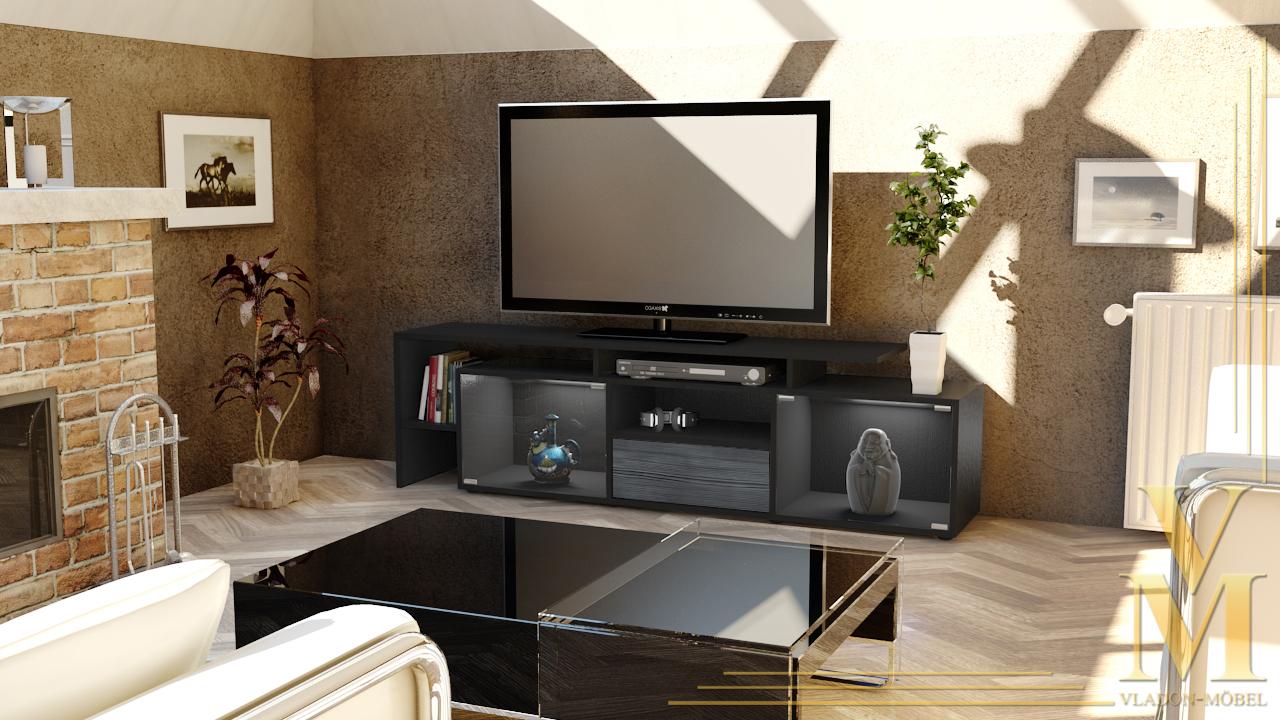 lowboard kommode tv board tisch rack bermuda in schwarz. Black Bedroom Furniture Sets. Home Design Ideas