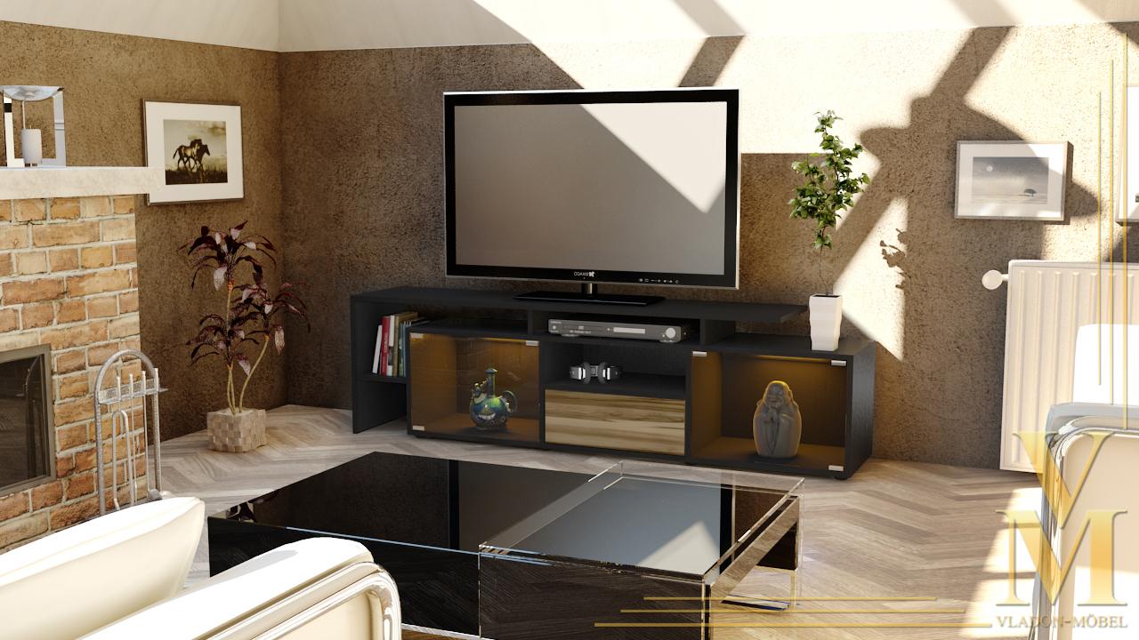 tv board tisch rack bermuda in schwarz hochglanz amp naturtoene. Black Bedroom Furniture Sets. Home Design Ideas