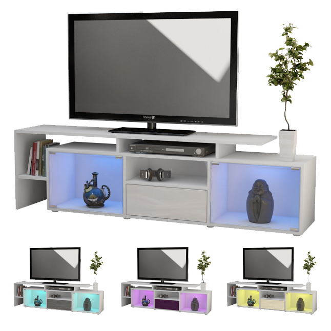 tv board lowboard sideboard bermuda white in high gloss. Black Bedroom Furniture Sets. Home Design Ideas