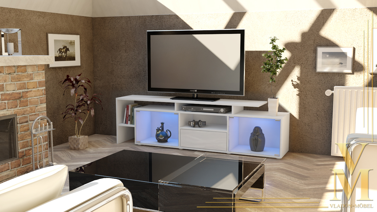 tv board lowboard tv schrank bermuda in wei wei hochglanz ebay. Black Bedroom Furniture Sets. Home Design Ideas