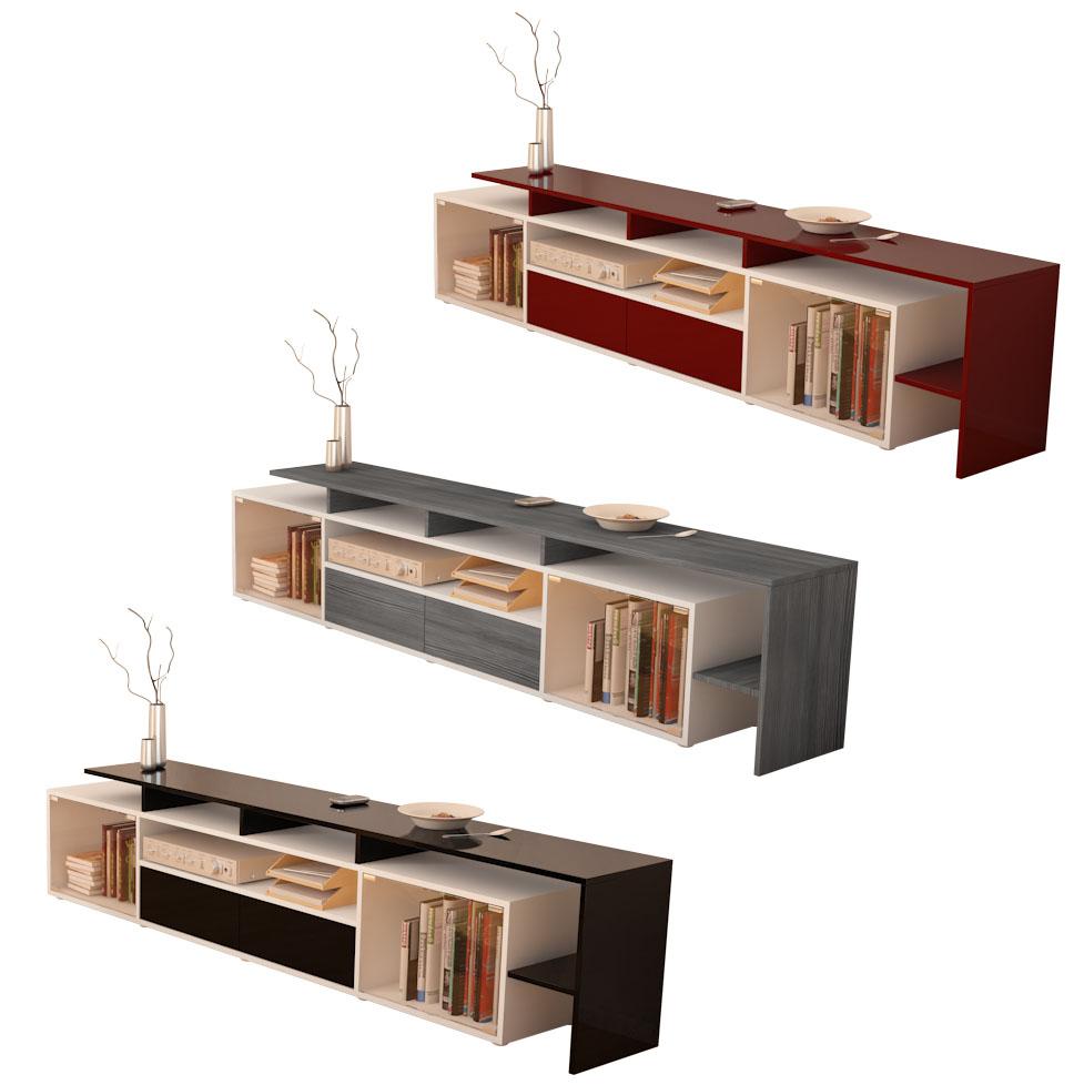Tv board lowboard sideboard bermuda v2 deluxe white high for Sideboard lowboard