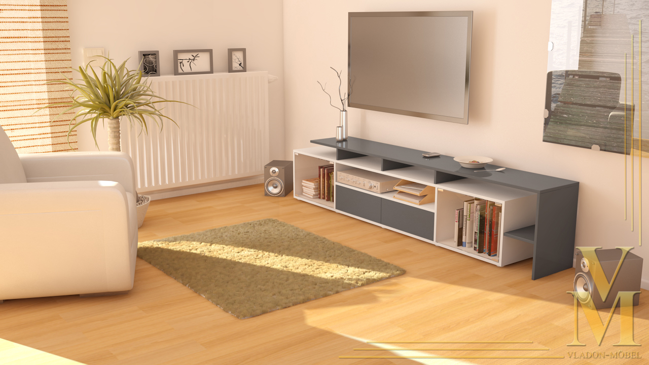tv board lowboard tisch bermuda v2 wei deluxe in 14 hochglanz oder naturfarben ebay. Black Bedroom Furniture Sets. Home Design Ideas