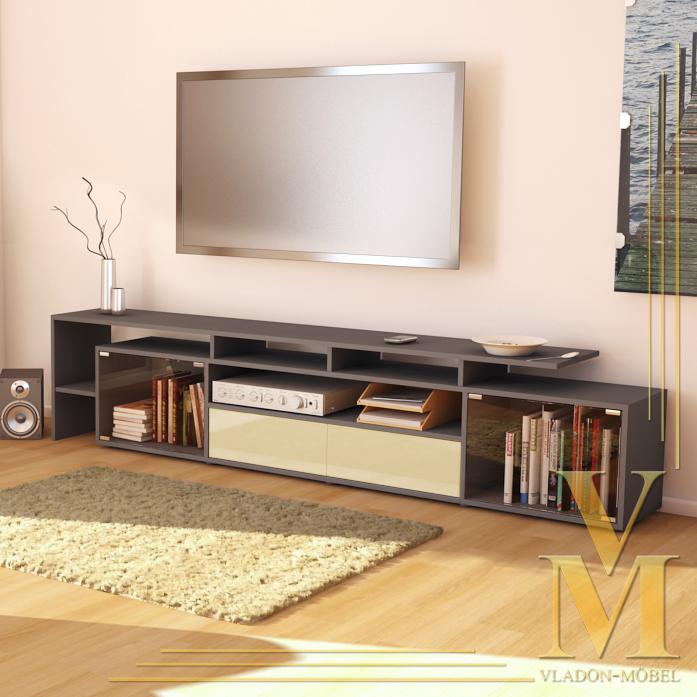 Tv board lowboard sideboard bermuda v2 in grey cream for Sideboard lowboard