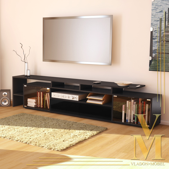 lowboard tv board tisch rack bermuda v2 schwarz schwarz. Black Bedroom Furniture Sets. Home Design Ideas