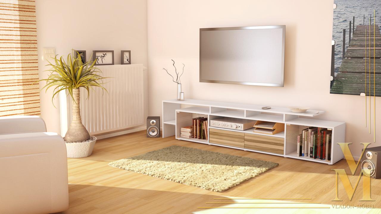 lowboard kommode tv board tisch rack bermuda v2 wei. Black Bedroom Furniture Sets. Home Design Ideas