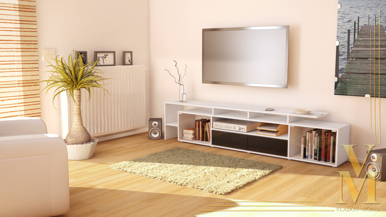 lowboard kommode tv board tisch rack bermuda v2 wei hochglanz naturt ne ebay. Black Bedroom Furniture Sets. Home Design Ideas