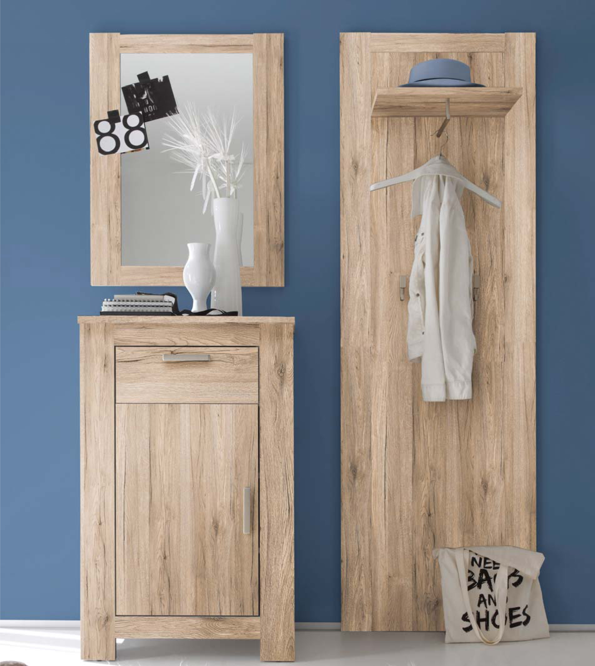 garderobenset flur garderobe dielenset charleston in 2 naturrealistischen farben ebay. Black Bedroom Furniture Sets. Home Design Ideas