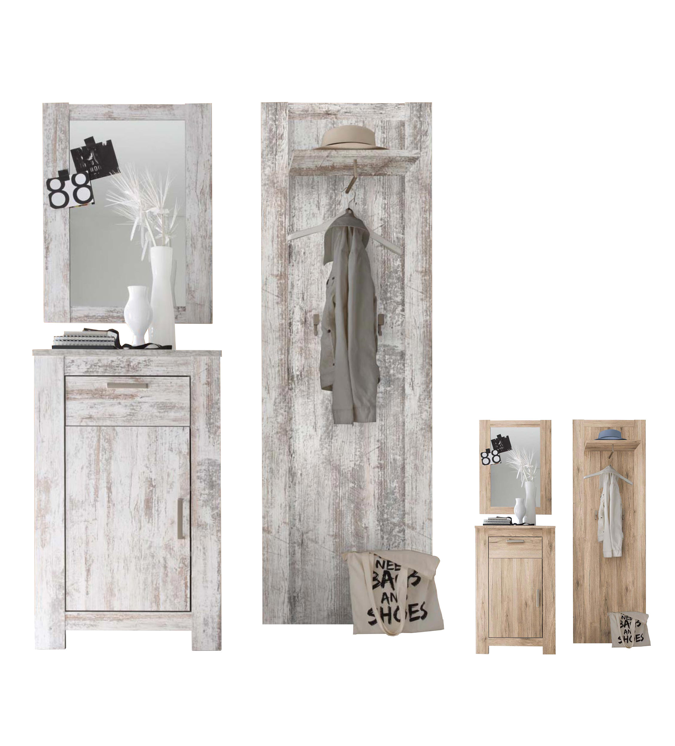 Garderobenset flur garderobe dielenset charleston in 2 for Suche flurgarderobe