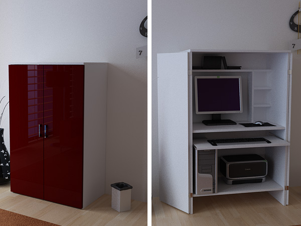 computerschrank pc b ro schrank wei bordeaux hochglanz ebay. Black Bedroom Furniture Sets. Home Design Ideas