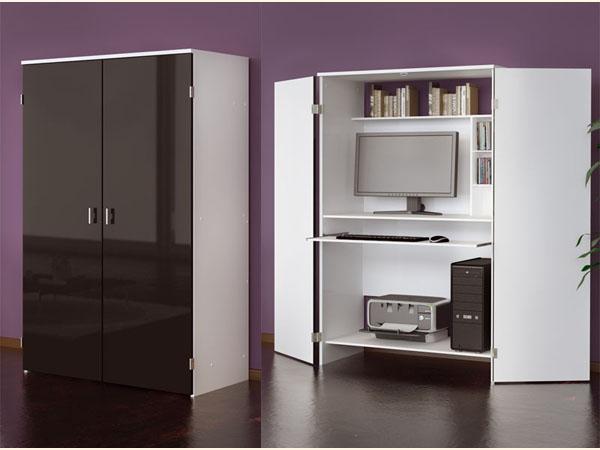 computerschrank pc schrank wei schwarz hochglanz ebay. Black Bedroom Furniture Sets. Home Design Ideas