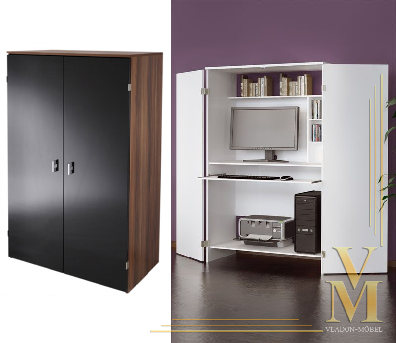High Gloss Kitchen Cabinet Doors: Computer Cabinet In Walnut-Black With High Gloss Doors!