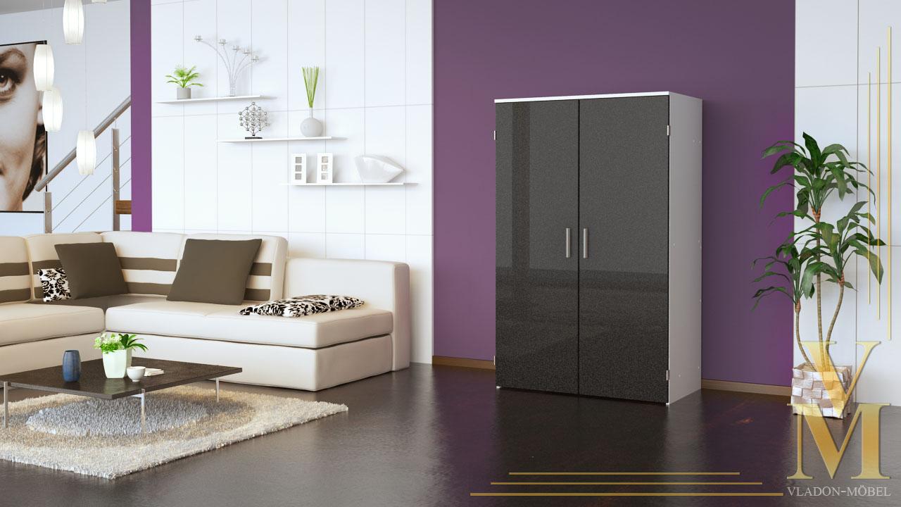 Armoire informatique meuble pc bureau en blanc facades en for Meuble armoire informatique