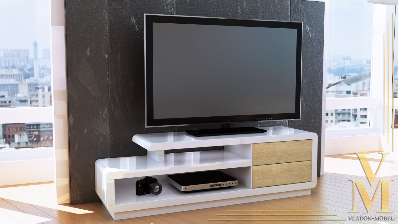 lowboard kommode tv board unterschrank cosimo in wei eiche s gerau ebay. Black Bedroom Furniture Sets. Home Design Ideas