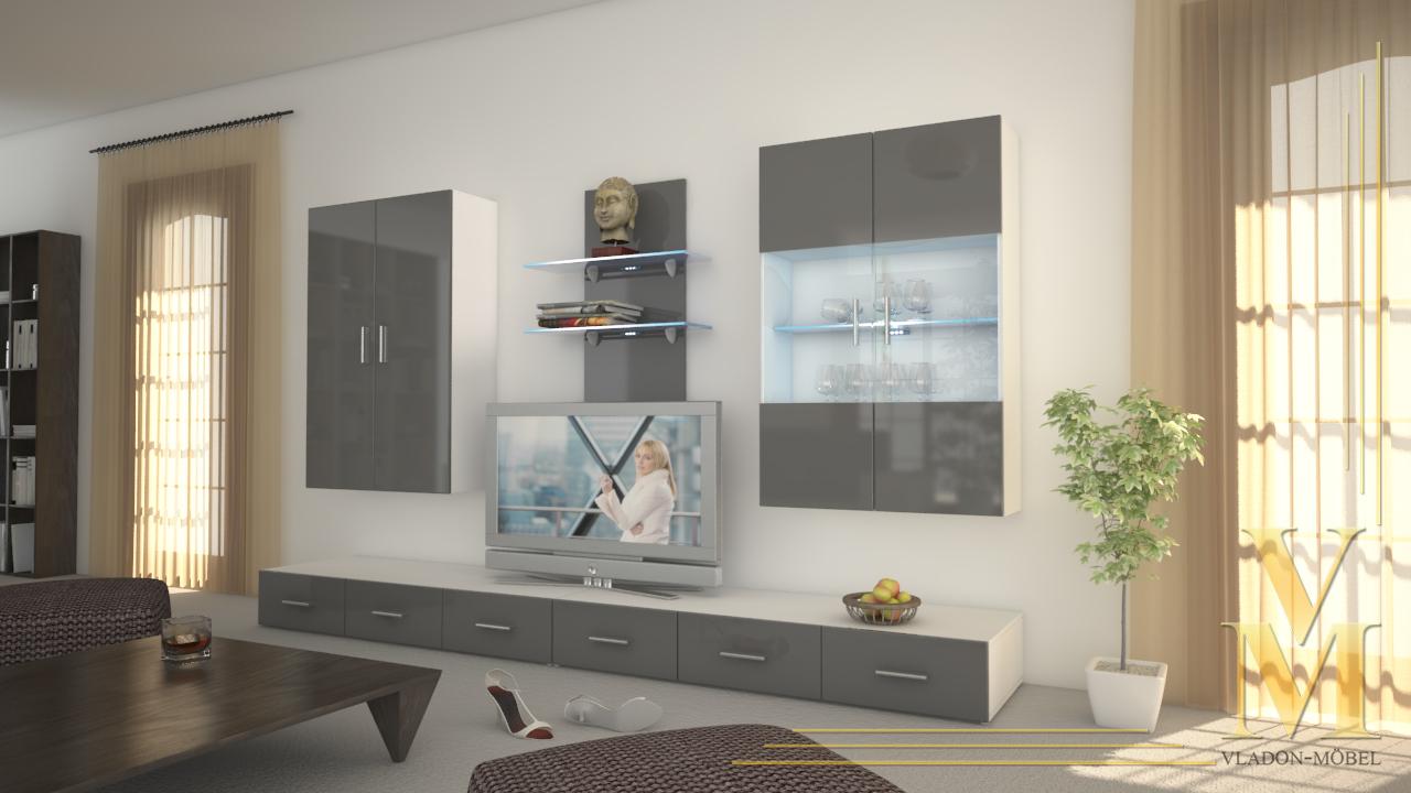 Moderne anbauwand wohnwand schrankwand eleganz weiss in for Moderne schrankwand hochglanz