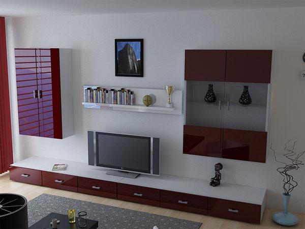 Wohnwand anbauwand eleganz 2001 hochglanz wei rot ebay for Wohnwand rot