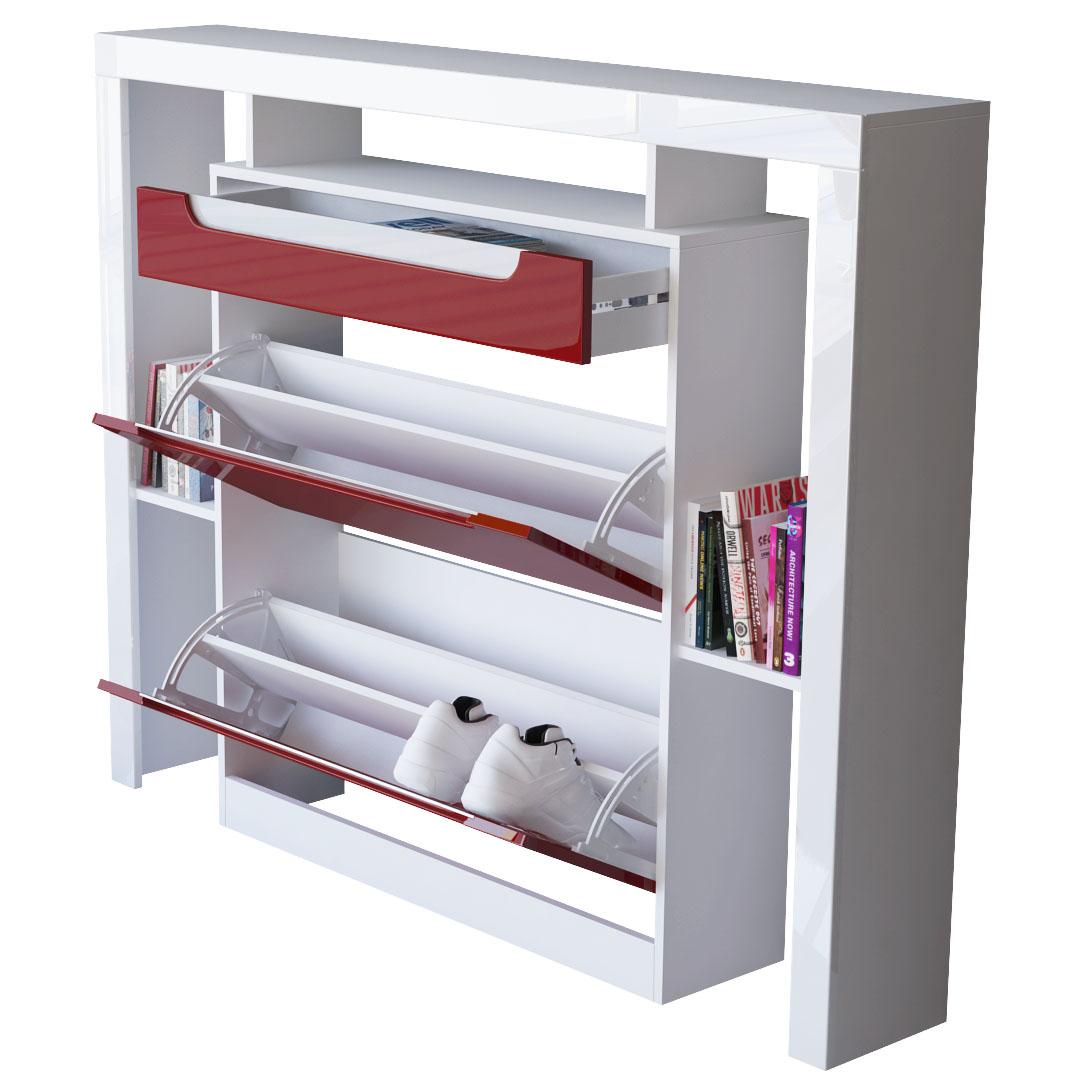 schuhschrank schuhkipper diele flur schrank espo wei hochglanz naturt ne ebay. Black Bedroom Furniture Sets. Home Design Ideas