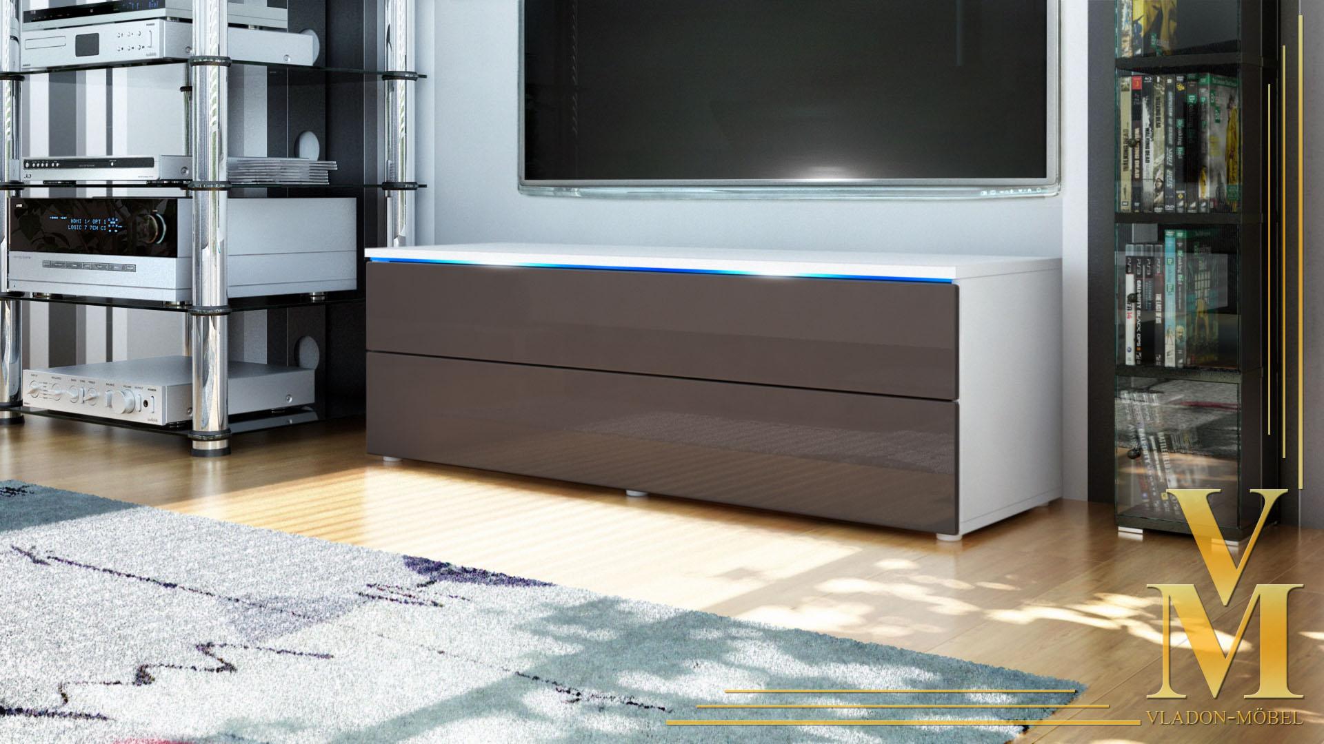 tv unit lowboard stand cabinet evora white matt high. Black Bedroom Furniture Sets. Home Design Ideas