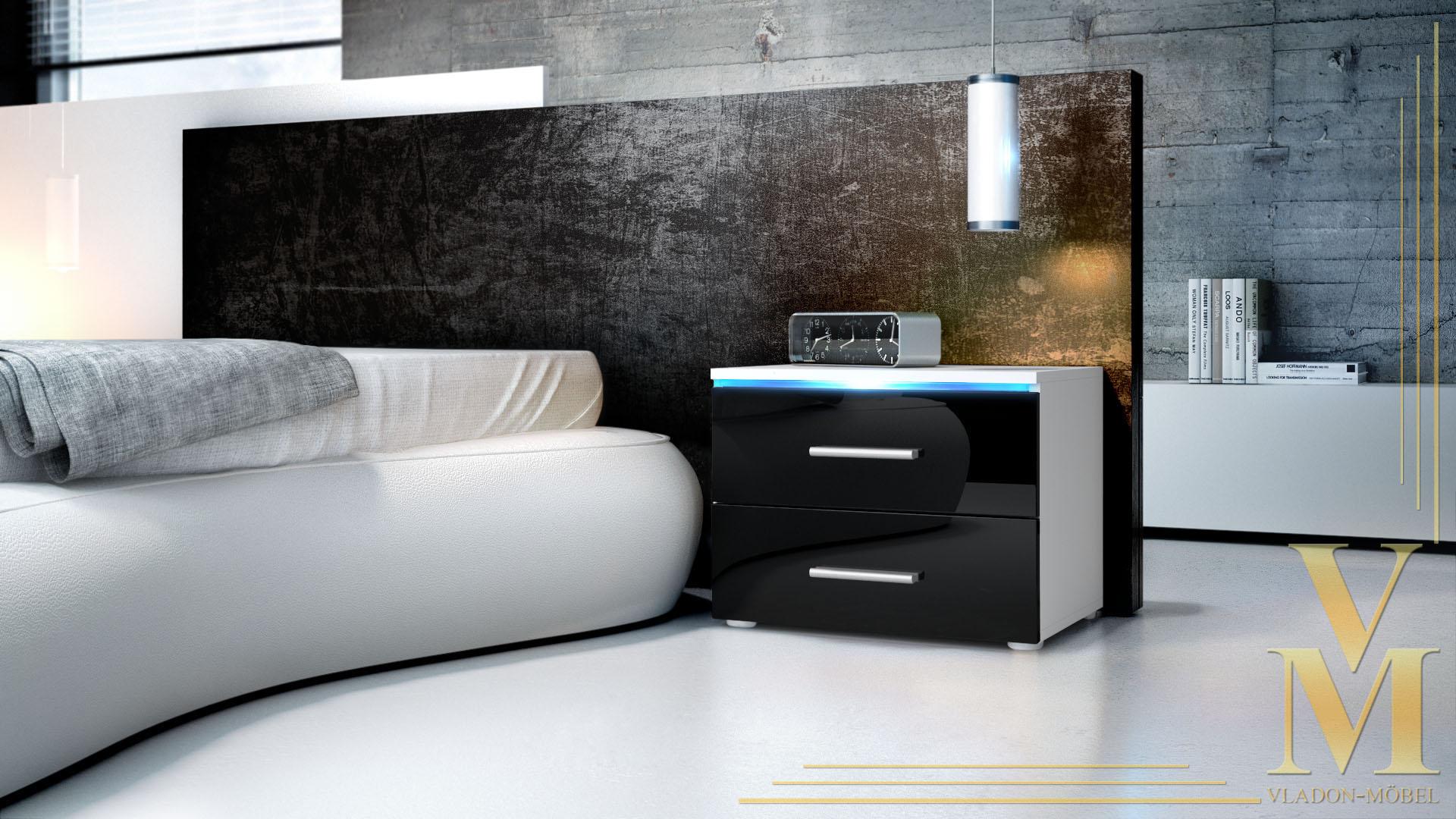 nachtkonsole nacht tisch kommode schrank faro in wei. Black Bedroom Furniture Sets. Home Design Ideas