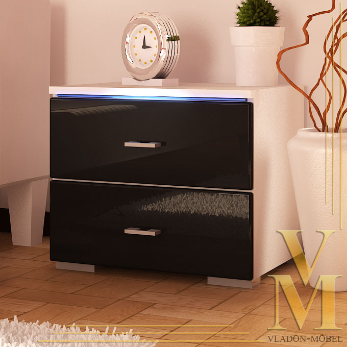 kommode nachtkonsole nachttisch faro hochglanz ebay. Black Bedroom Furniture Sets. Home Design Ideas