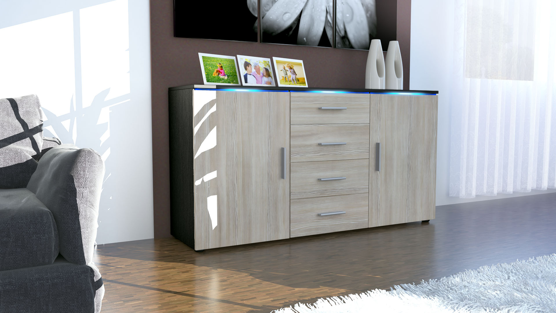Modern Sideboard Buffet Server Storage Cabinet Chest Faro in Black ...