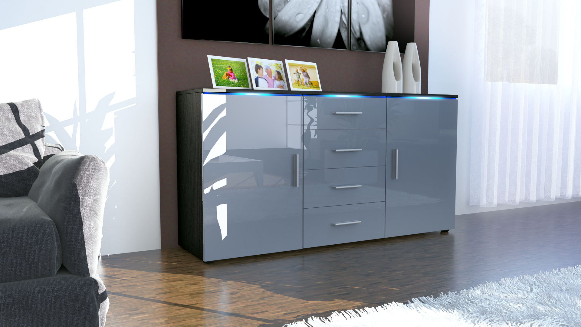 modernes sideboard tv board anrichte kommode faro schwarz hochglanz naturt ne ebay. Black Bedroom Furniture Sets. Home Design Ideas