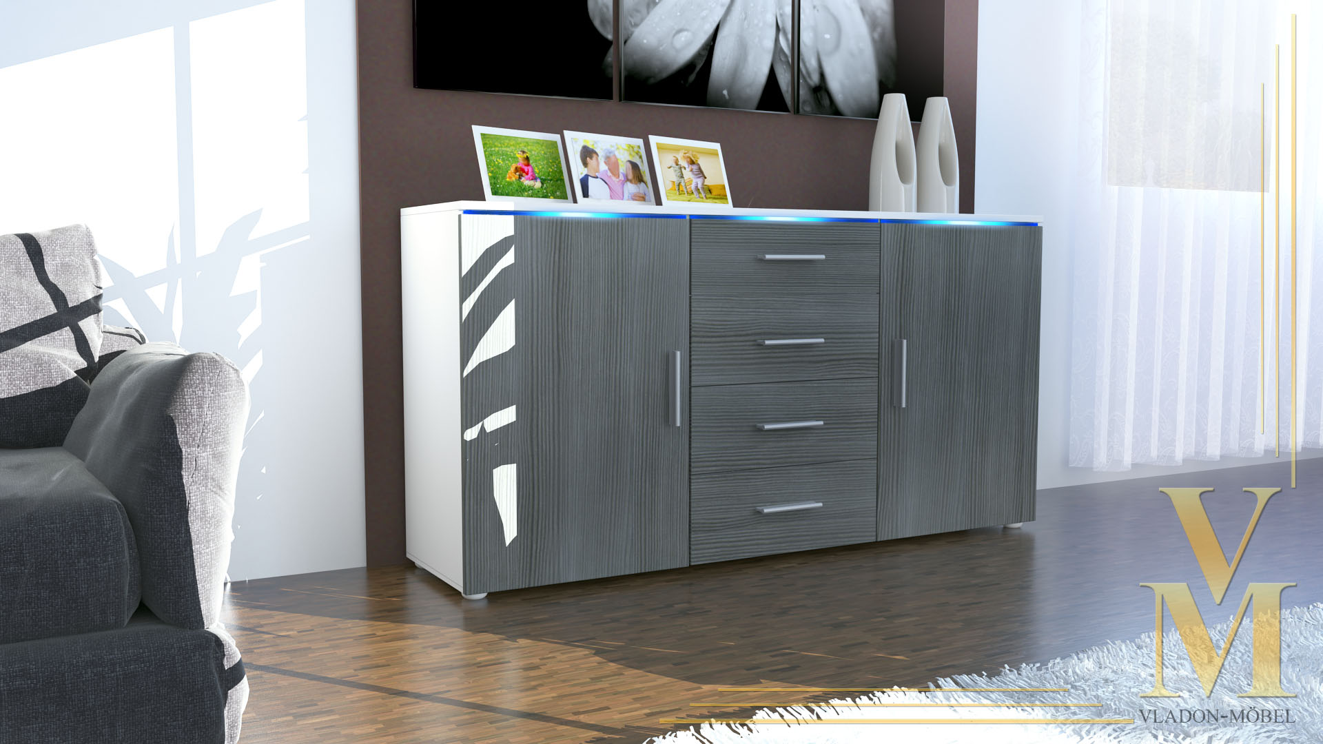 modern sideboard buffet server storage cabinet chest faro in white high gloss. Black Bedroom Furniture Sets. Home Design Ideas