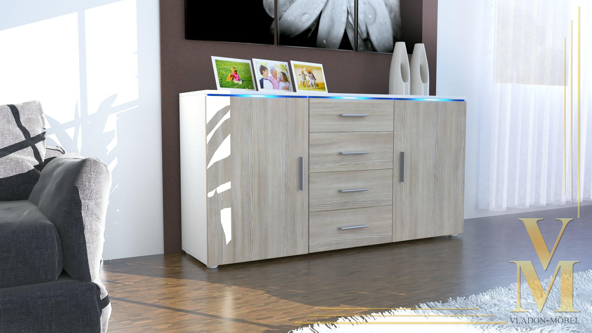 modernes sideboard tv board anrichte kommode faro wei hochglanz naturt ne ebay. Black Bedroom Furniture Sets. Home Design Ideas
