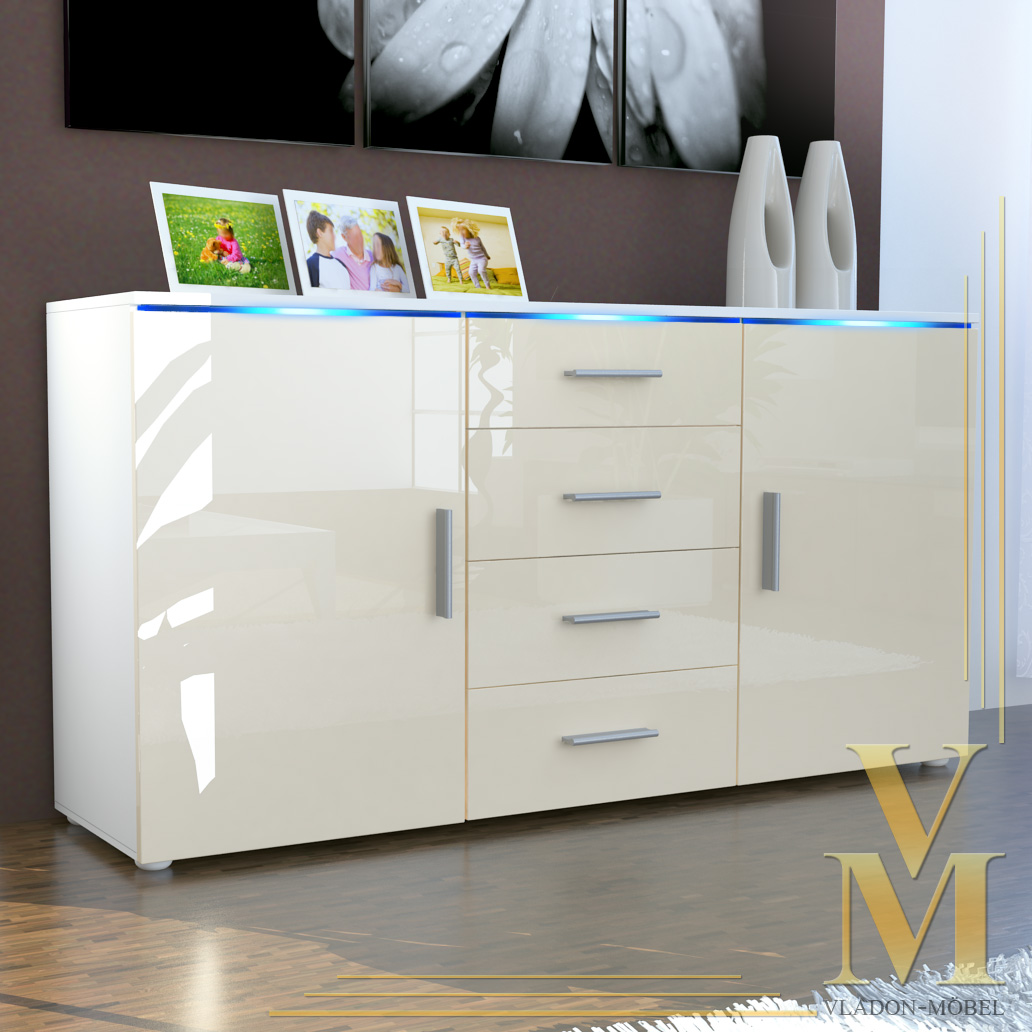 sideboard cabinet tv board faro in white cream highgloss. Black Bedroom Furniture Sets. Home Design Ideas