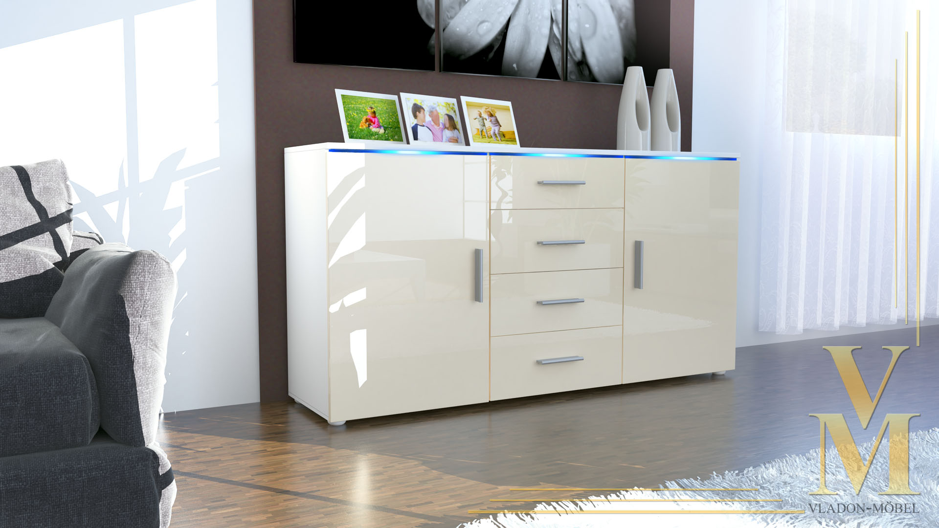 sideboard cabinet chest of drawers faro white high gloss. Black Bedroom Furniture Sets. Home Design Ideas