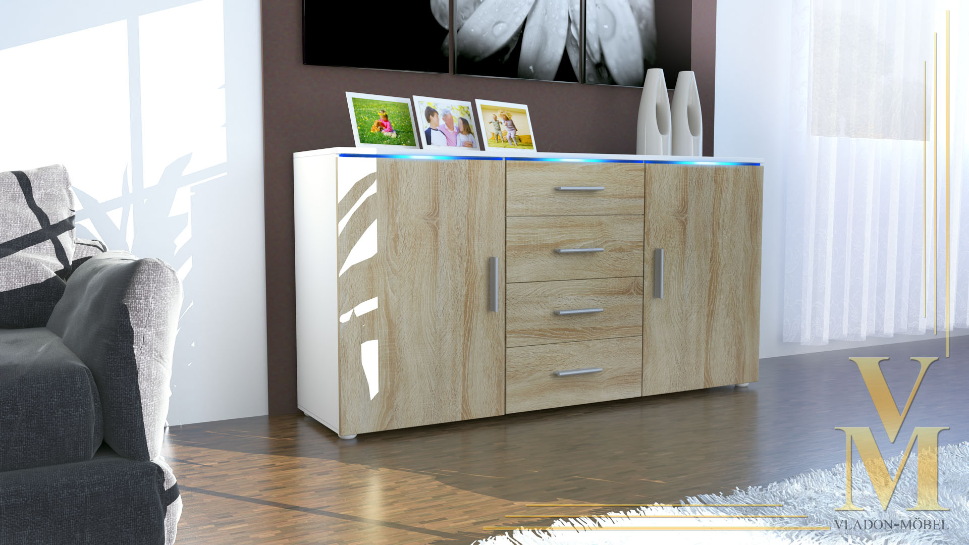 modernes sideboard tv board anrichte kommode faro wei hochglanz naturt ne ebay. Black Bedroom Furniture Sets. Home Design Ideas