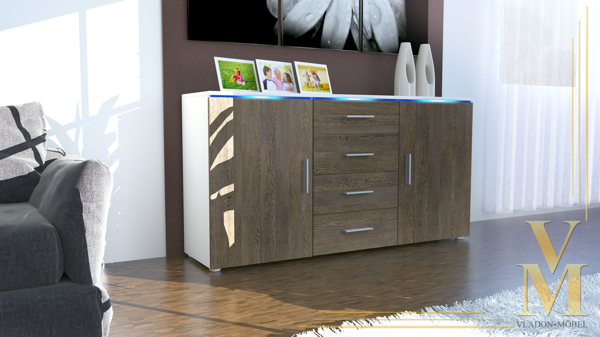 modernes sideboard tv board anrichte kommode faro wei. Black Bedroom Furniture Sets. Home Design Ideas