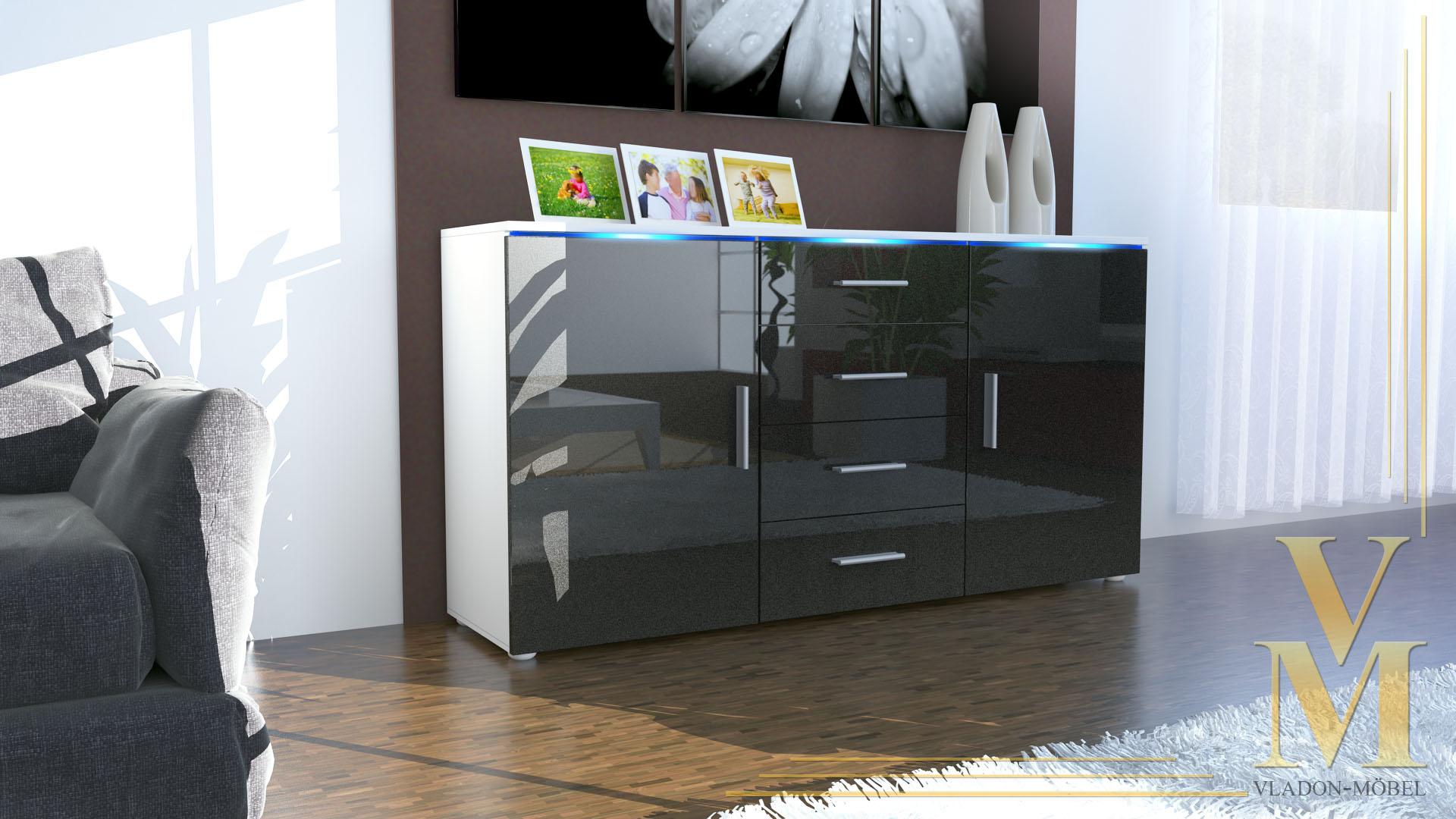 modern sideboard buffet server storage cabinet chest faro in white high gloss ebay. Black Bedroom Furniture Sets. Home Design Ideas