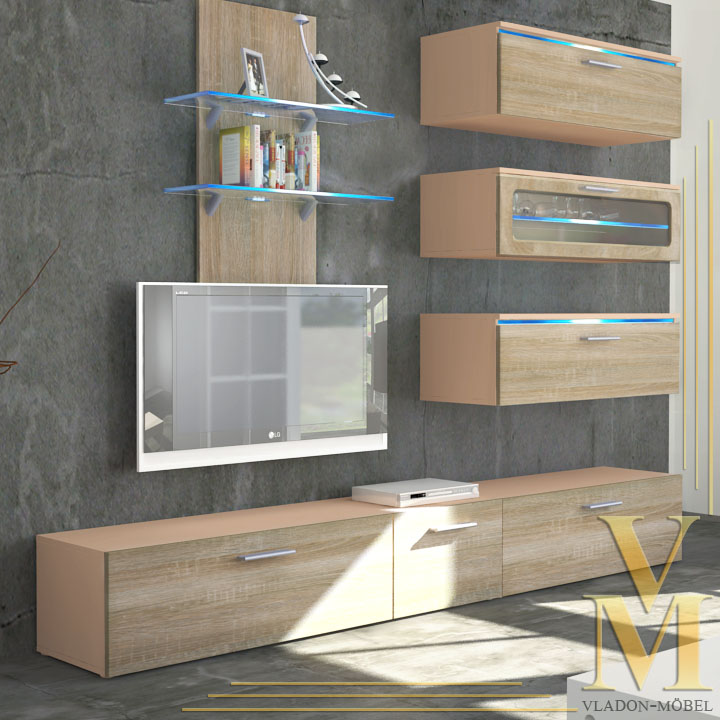 Image Is Loading Wall Unit Living Room Furniture Faro In Cappuccino