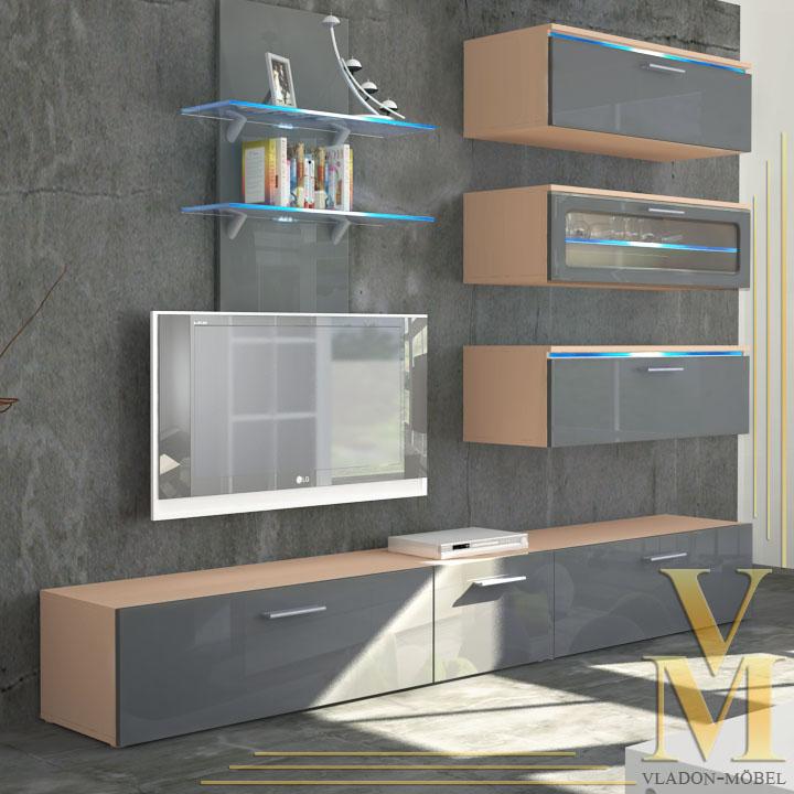 Wall Unit Living Room Furniture Faro in Cappuccino / Grey ...