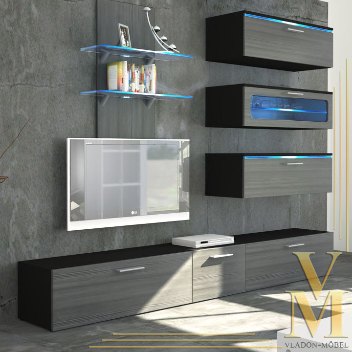 Wall Unit Living Room Furniture Faro In Black Avola Anthracite Ebay