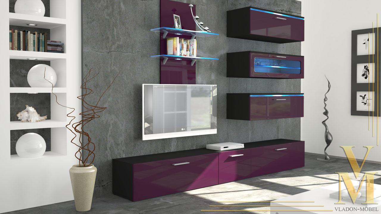 Moderne anbauwand wohnwand schrankwand faro schwarz in for Moderne anbauwand