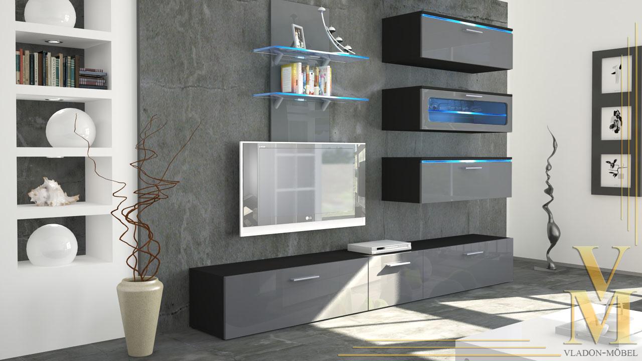 Wohnwand anbauwand faro hochglanz versch farben ebay for Wohnwand grau schwarz