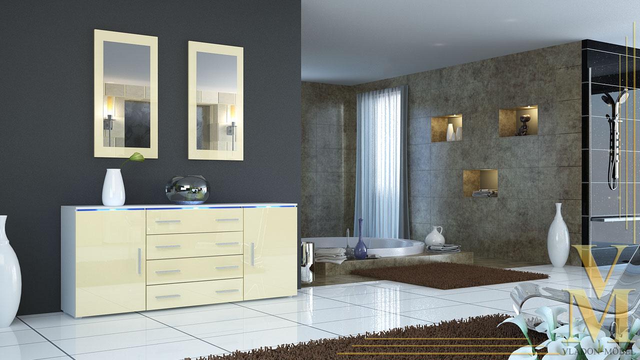 sideboard kommode anrichte tv board faro v2 in wei creme hochglanz ebay. Black Bedroom Furniture Sets. Home Design Ideas
