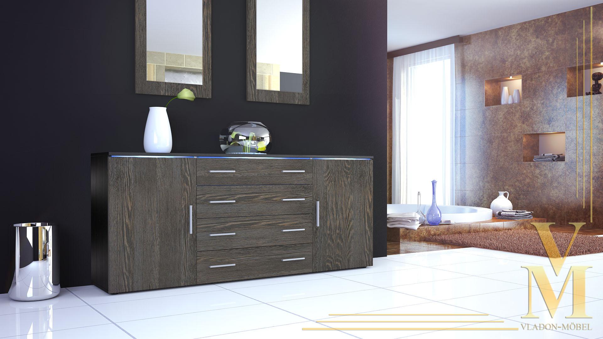 of drawers cabinet grmitz v2 black high gloss natural. Black Bedroom Furniture Sets. Home Design Ideas