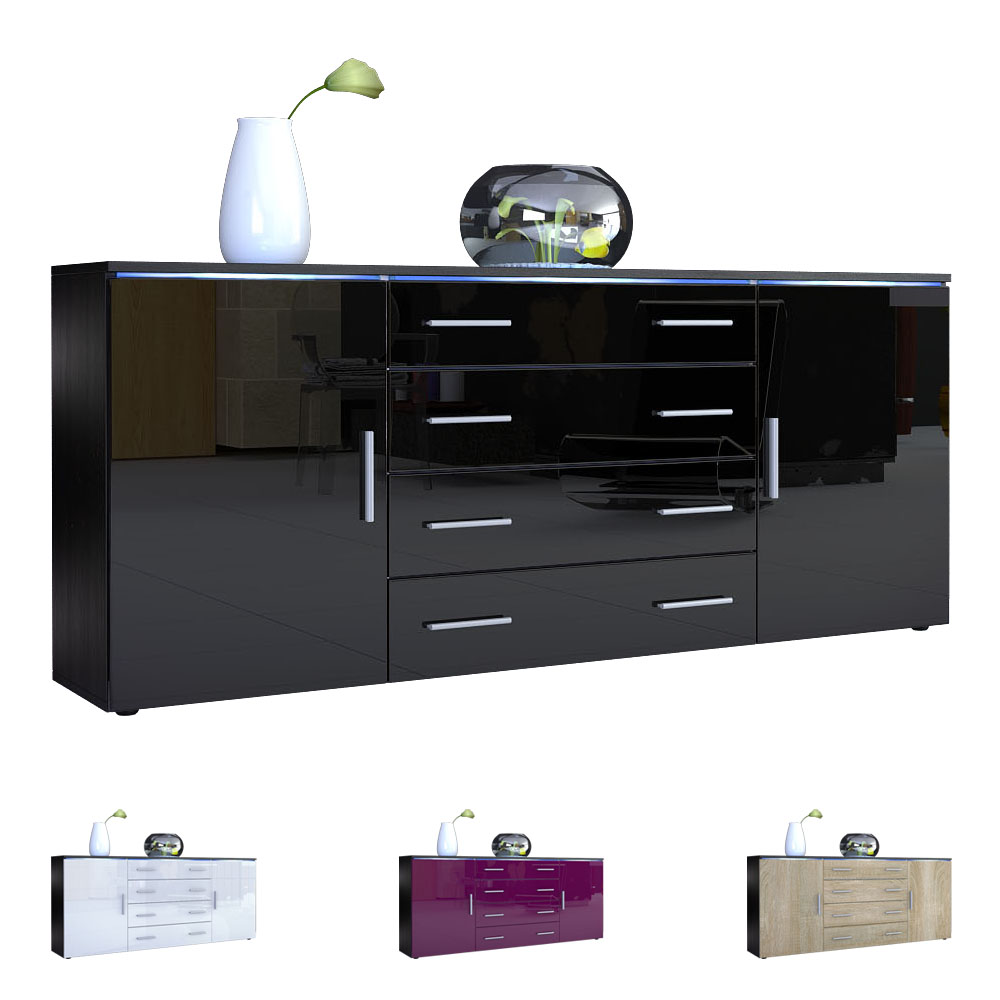 Sideboard kommode tv board anrichte faro v2 in schwarz - Sideboard wandmontage ...