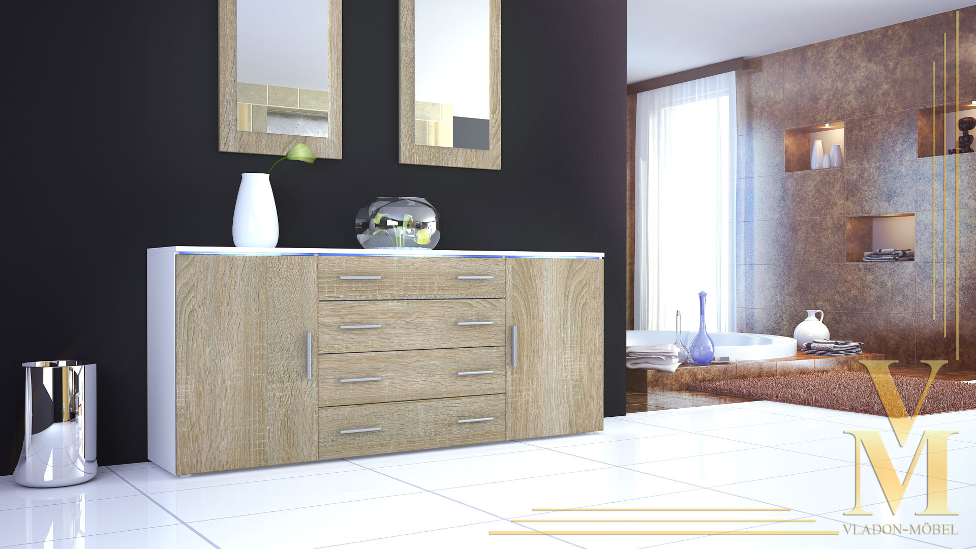 Sideboard matt wei latest large size of hulsta now for Sideboard hochglanz