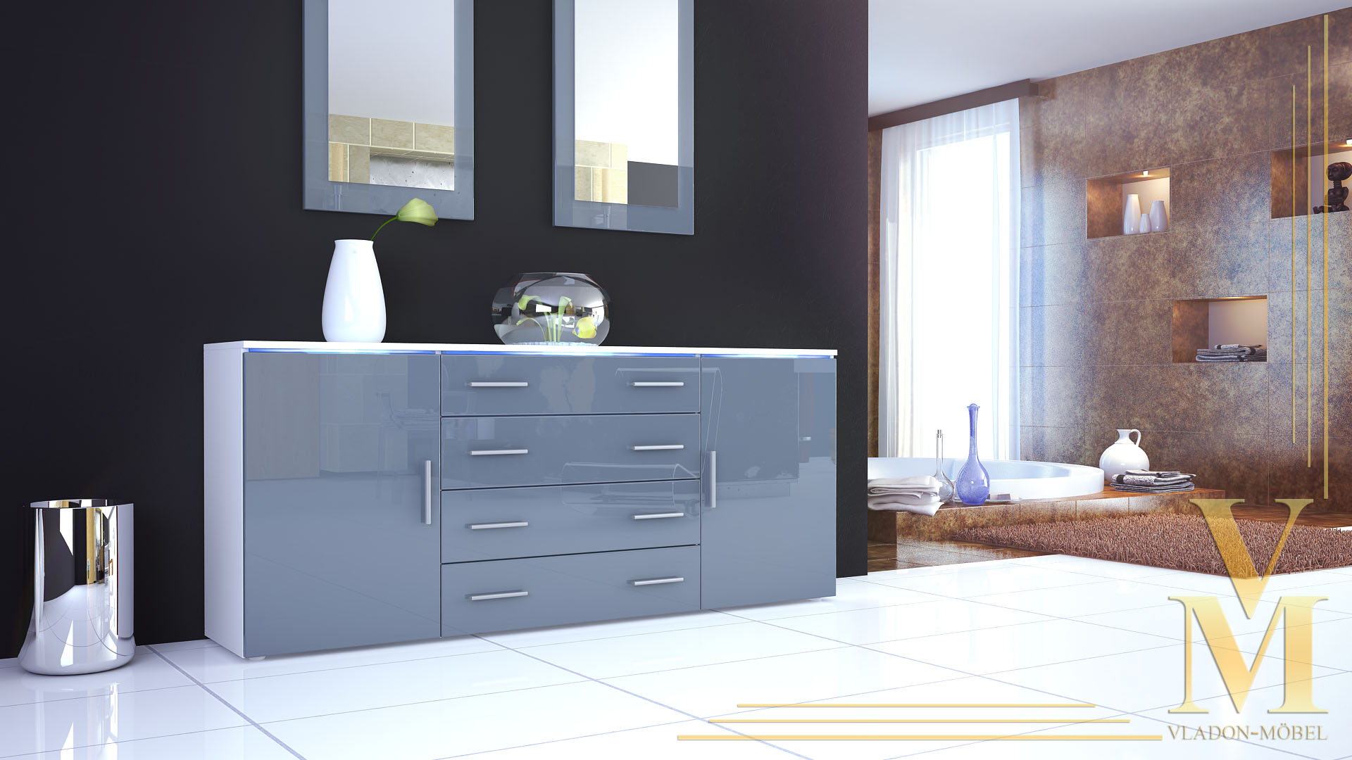 sideboard cabinet chest of drawers faro v2 white high. Black Bedroom Furniture Sets. Home Design Ideas
