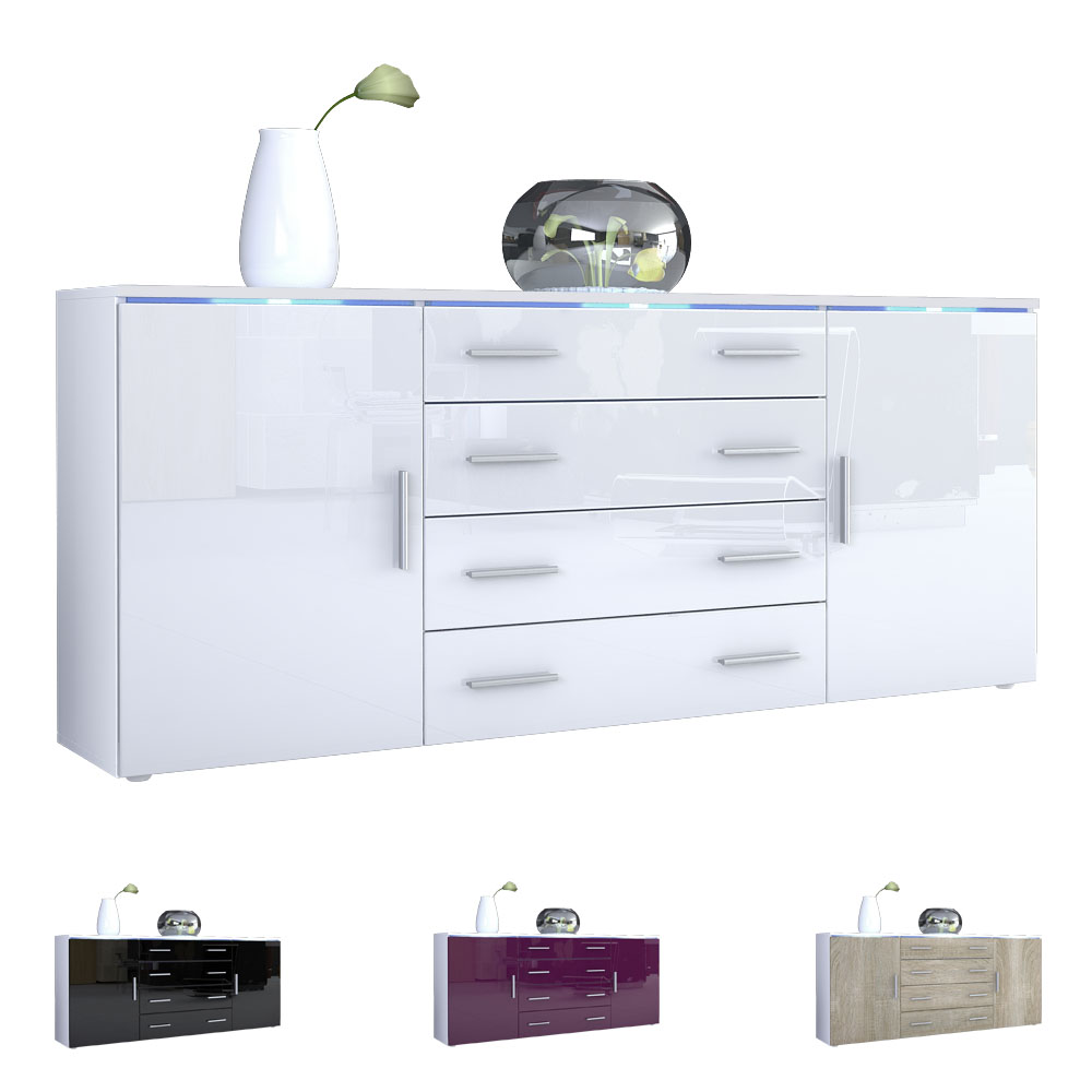 sideboard cabinet chest of drawers faro v2 white high gloss natural tones ebay. Black Bedroom Furniture Sets. Home Design Ideas